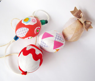 Easter crafts for kids using fabric and beads to decorate Easter eggs