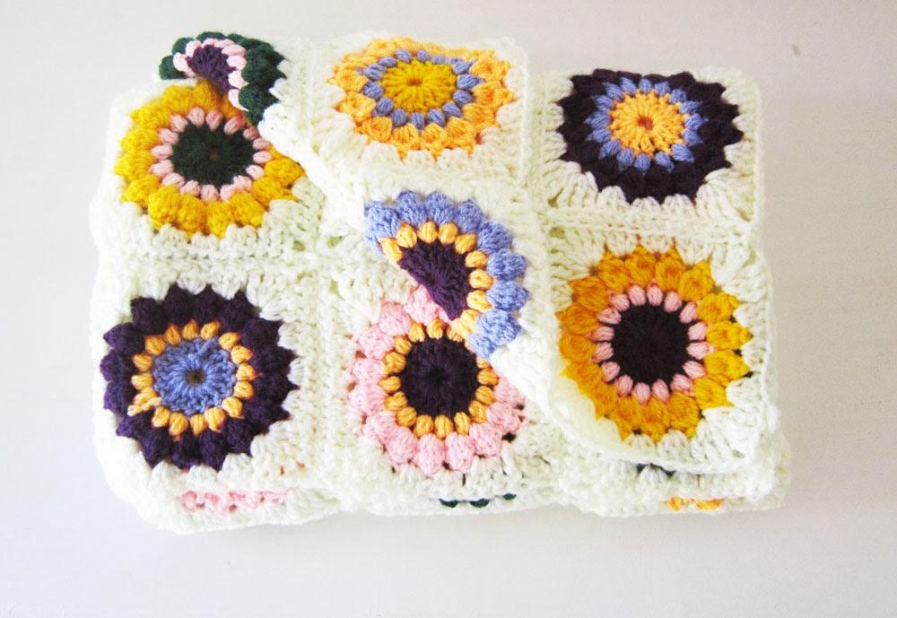 Sunburst Granny Squares Baby Blanket Finished Akamatra