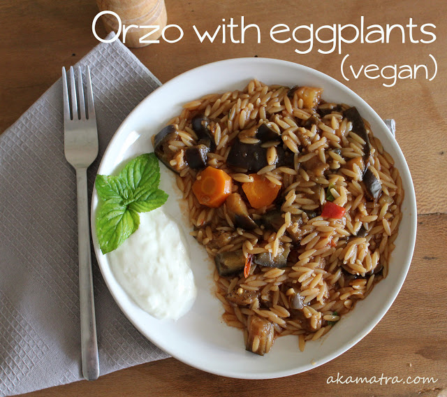 Orzo with eggplants, vegan recipe
