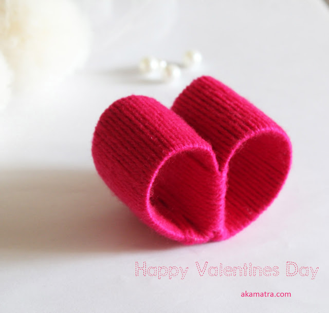 Cute paper and yarn Valentines hearts